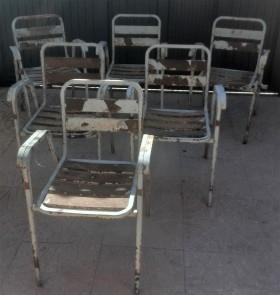 Sillas viejas de terraza de bar. 6 unidades. Años 70. Para pintar y reutilizar.