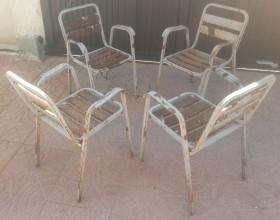 Sillas viejas de terraza de bar. 4 unidades. Años 70. Para pintar y reutilizar.
